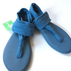 Sz 9 10 NWT sanuk flip flop yoga sling dusty blue